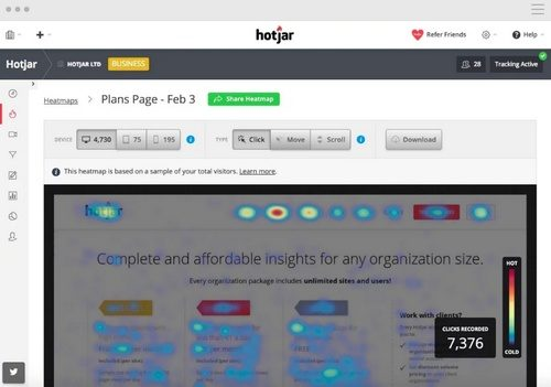 Hotjar screenshot