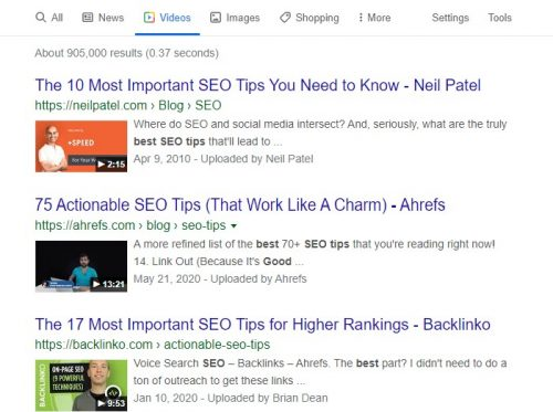 Niel patel and ahrefs and Backlinko all use video for more Google real estate