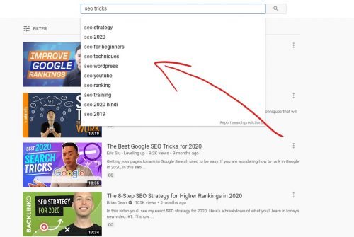YouTube search suggestions can give you keyword ideas